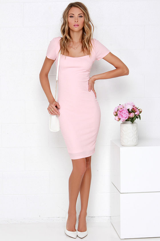 Army blush bodycon midi dress