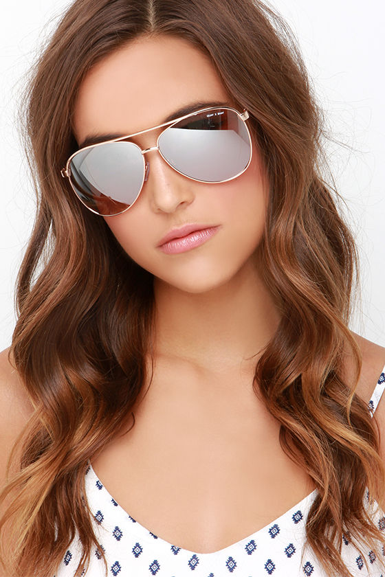 Quay Vivienne Gold Sunglasses Aviator Sunglasses 50 00