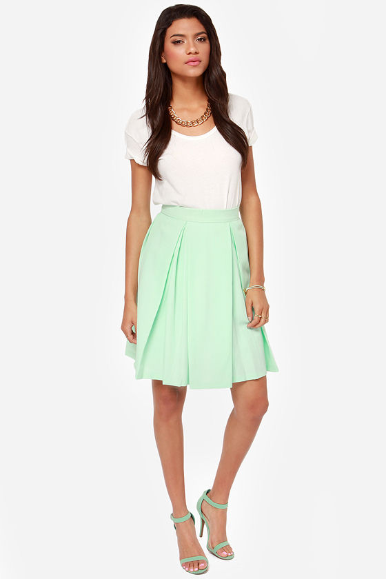 Pretty Mint Skirt - Midi Skirt - High Waisted Skirt - $40.00