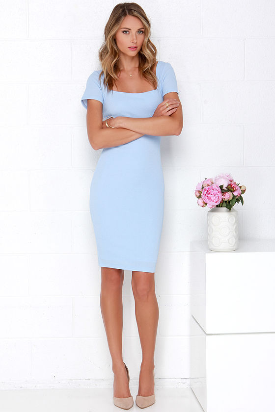 b8c81f312a65 Lovely Powder Blue Dress - Bodycon Dress - Midi Dress -  46.00