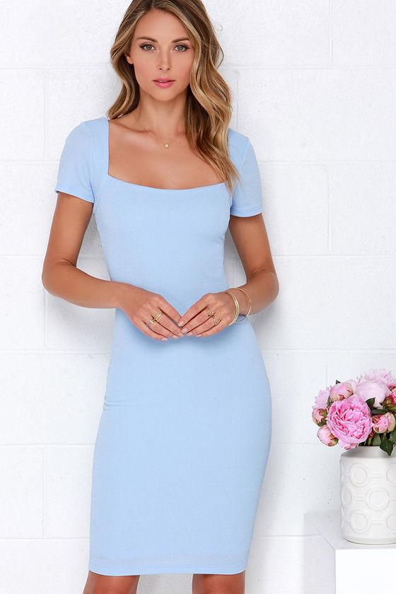 bad9578509 Lovely Powder Blue Dress - Bodycon Dress - Midi Dress - $46.00