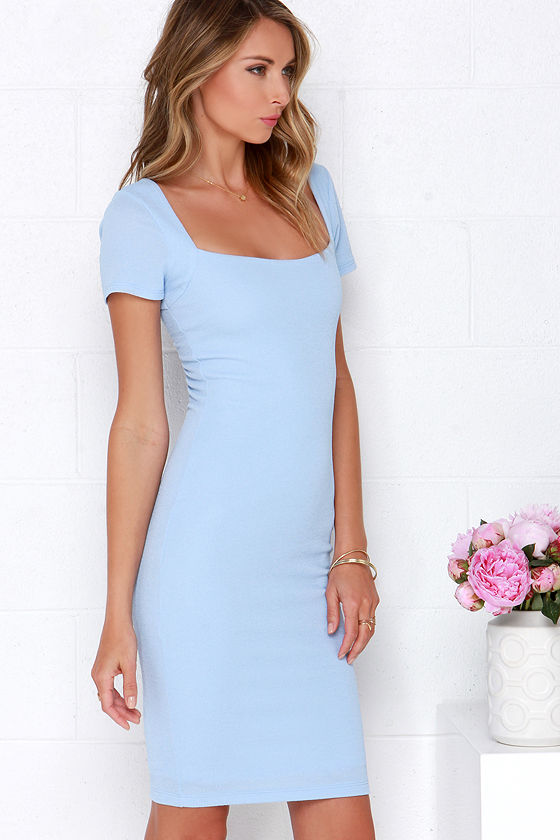 Lovely Powder Blue Dress - Bodycon Dress - Midi Dress - $46.00