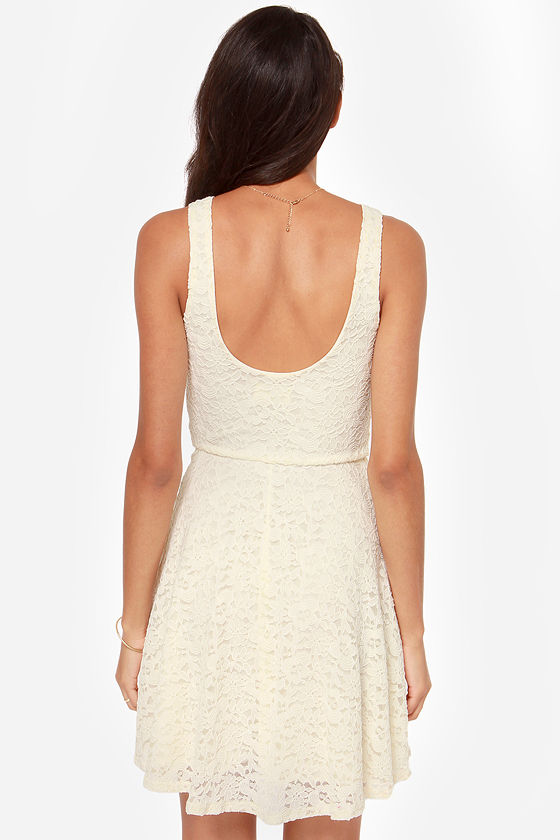 A Lace For Romance Cream Lace Dress at Lulus.com!