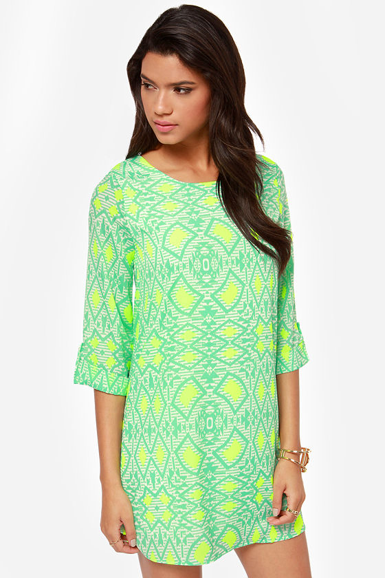 Put It in Print Mint Green Shift Dress at Lulus.com!