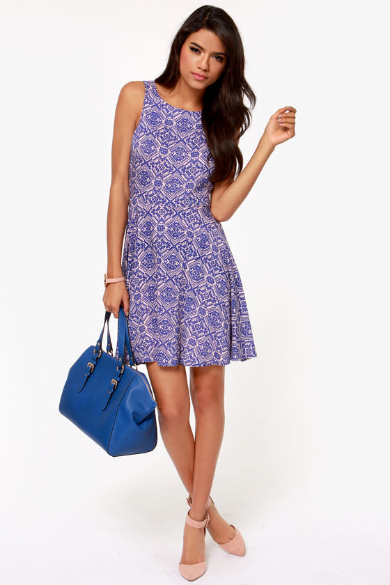 Wild Card Royal Blue Print Dress at Lulus.com!