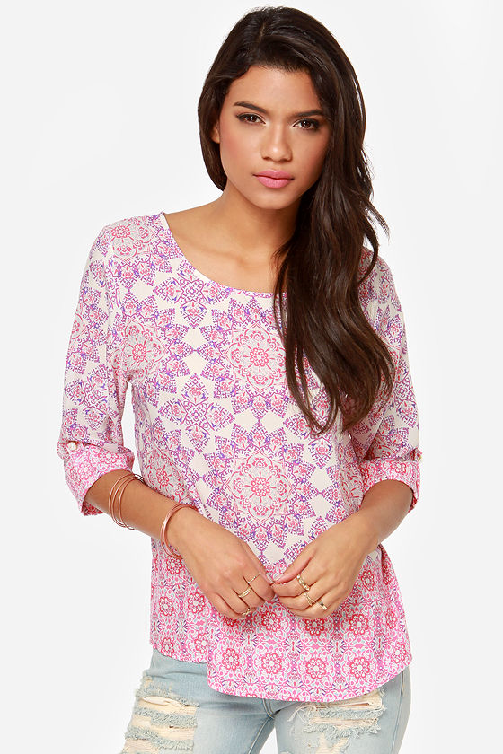 Mellow Mandala Lavender Print Top at Lulus.com!