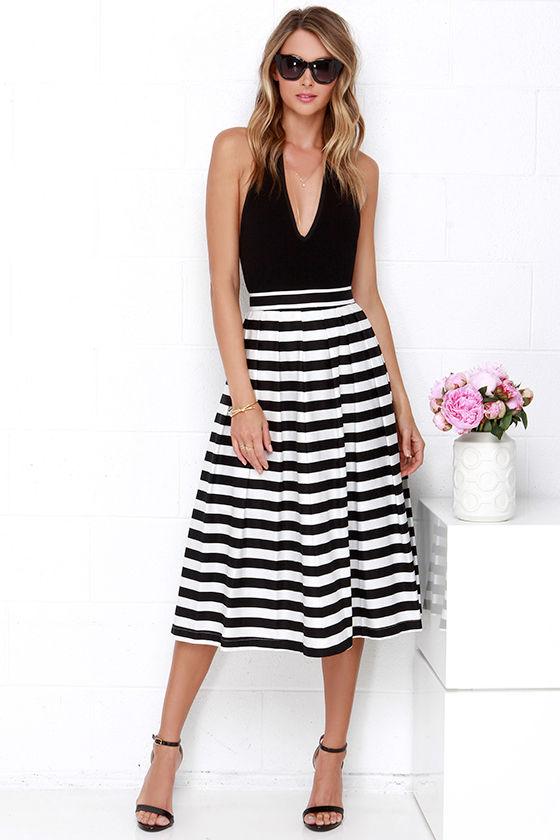 2c63614c1 Black and Ivory Striped Skirt - Midi Skirt - High-Waisted Skirt - $58.00