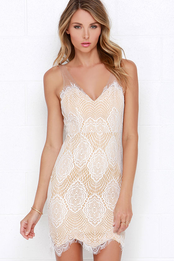 Royal Luxe Ivory Print Dress Luxe For Life Ivory Lace Dress