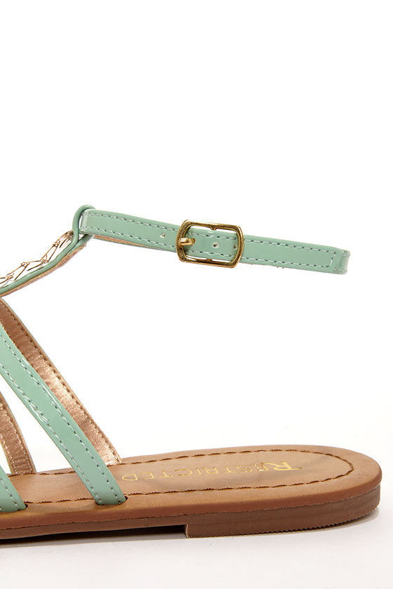 Restricted Olyvia Mint and Gold Embellished Thong Sandals at Lulus.com!