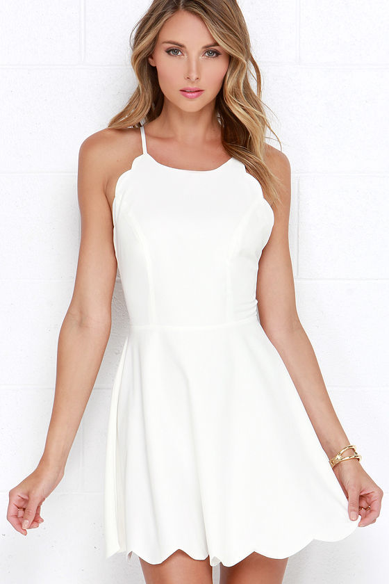 Adorable Ivory Dress - Halter Dress - Backless Dress - Scallop ...