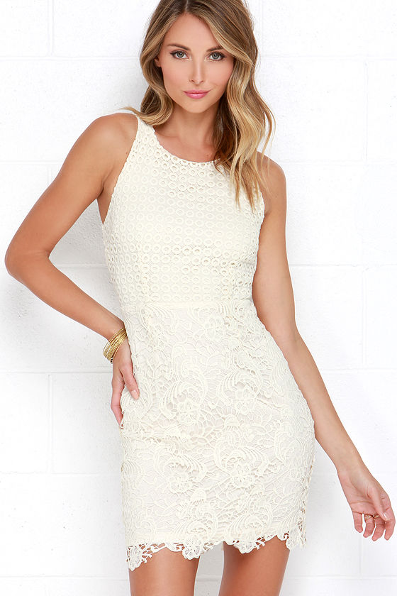 Cute Cream Dress - Lace Dress - Sheath Dress - $54.00