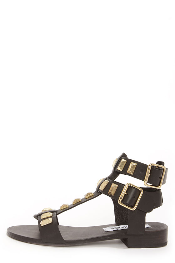 Steve Madden Perfeck Black and Gold Studded Leather Sandals at Lulus.com!