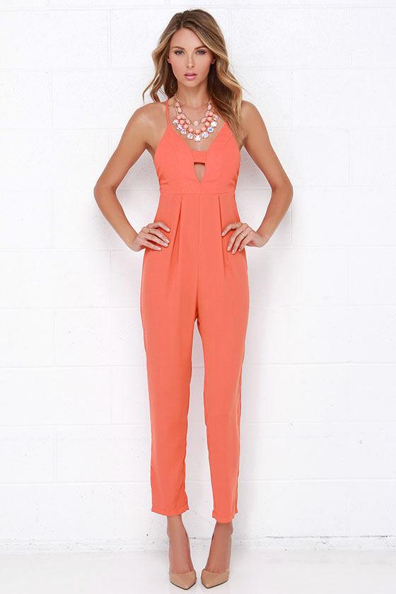 26d21775405 Cute Coral Orange Jumpsuit - Sleeveless Jumpsuit - Orange Jumpsuit -  54.00