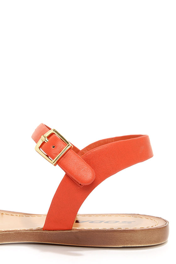 Soda Dino Deep Orange Buckled Ankle Strap Sandals at Lulus.com!