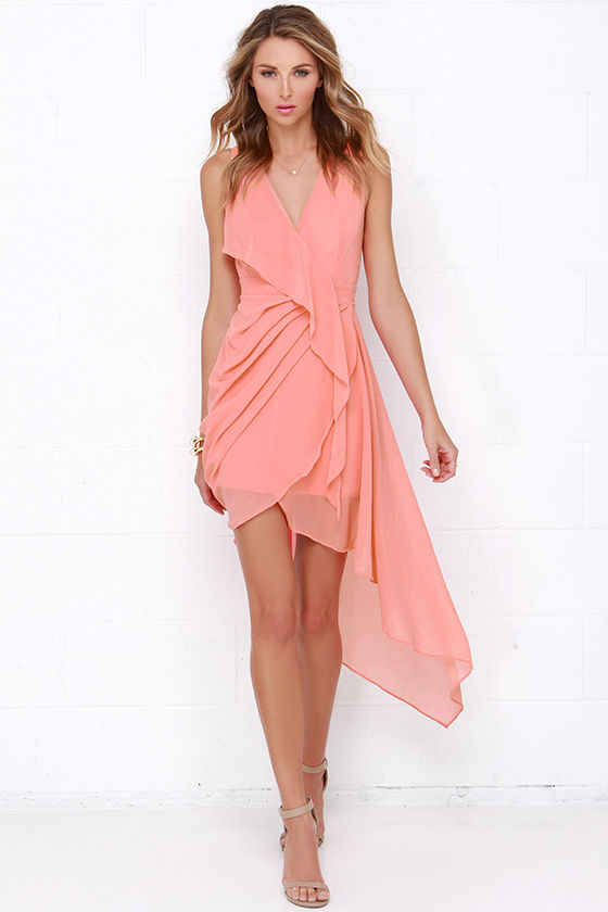 Lovely coral dress wrap dress high low dress for Boda en jardin vestidos