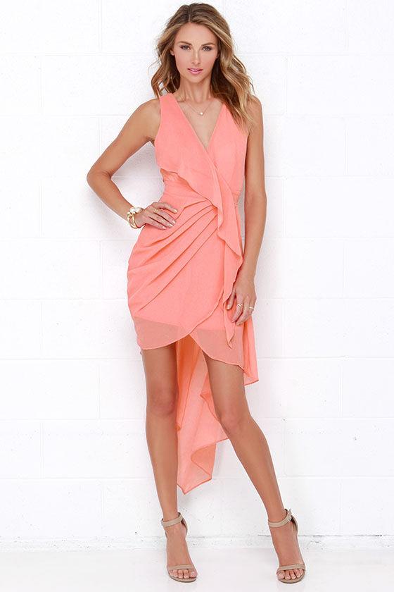 4279e8a164d Lovely Coral Dress - Wrap Dress - High-Low Dress -  48.00