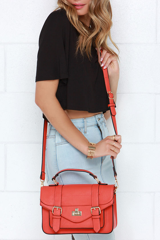 Chic Coral Red Purse - Coral Satchel - Crossbody Satchel - $41.00
