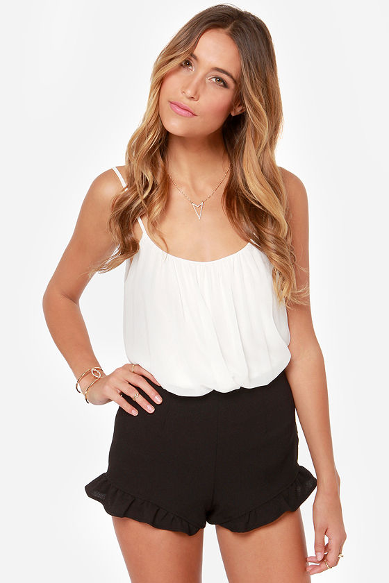 Cute Black Shorts - Ruffle Shorts - High-Waisted Shorts - $29.00