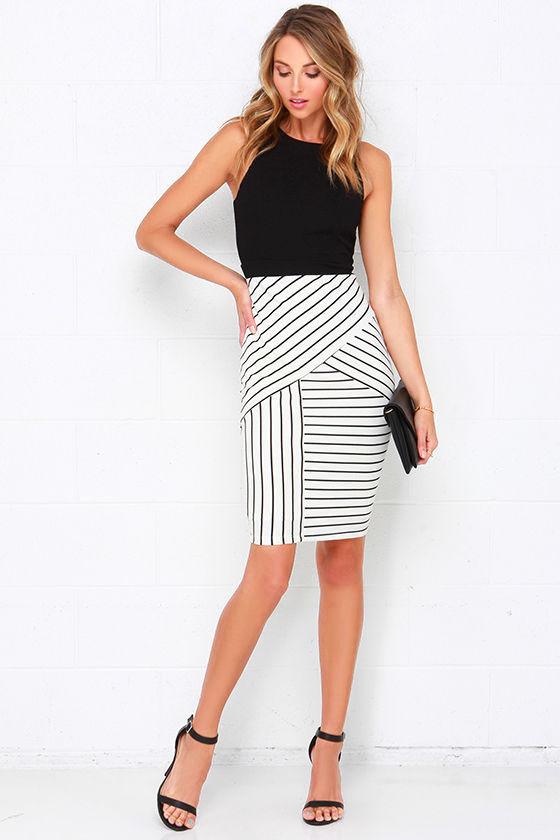 Pretty Black and Ivory Dress - Striped Dress - Midi Dress -  54.00 44d082e3b