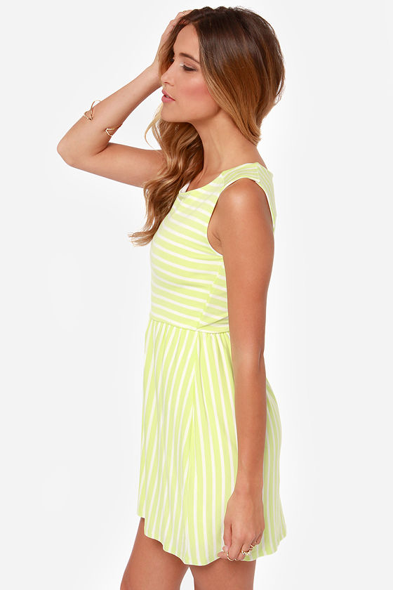 Olive & Oak Van Glow Lime Green Striped Dress at Lulus.com!