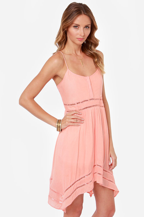 Volcom Last Call Peach Tank Dress at Lulus.com!