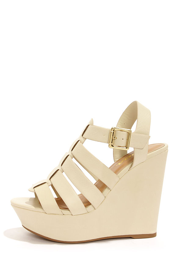 936e4327b Cute Platform Wedges - Wedge Sandals - Ivory Wedges - $28.00