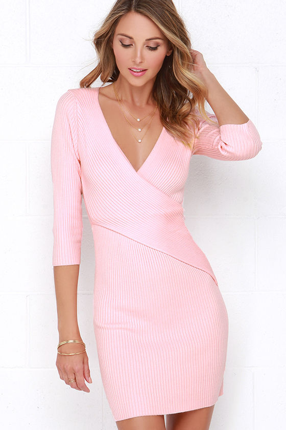 Cute Peach Dress - Long Sleeve Dress - Sweater Dress - Wrap Dress ...