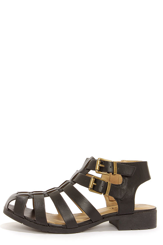 Soda Elodie Black Caged Sandals at Lulus.com!