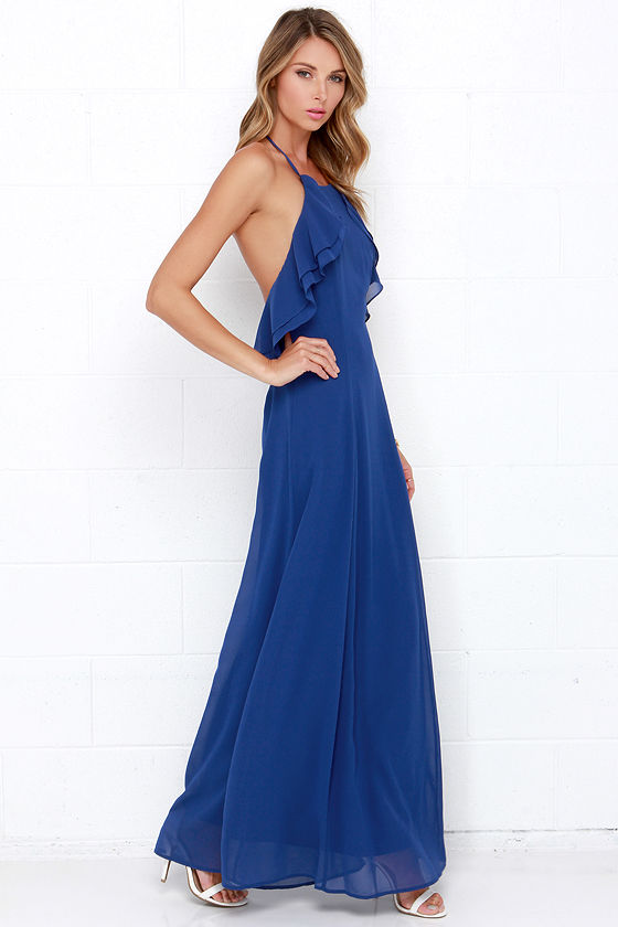 Pretty Royal Blue Dress - Halter Dress - Maxi Dress - Ruffle Dress ...