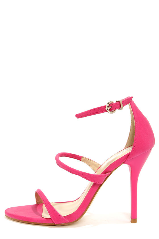 Sexy Pink Heels - Ankle Strap Heels - Single Sole Heels - $72.00