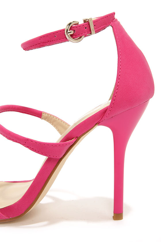 Sexy Pink Heels - Ankle Strap Heels - Single Sole Heels - $72.00