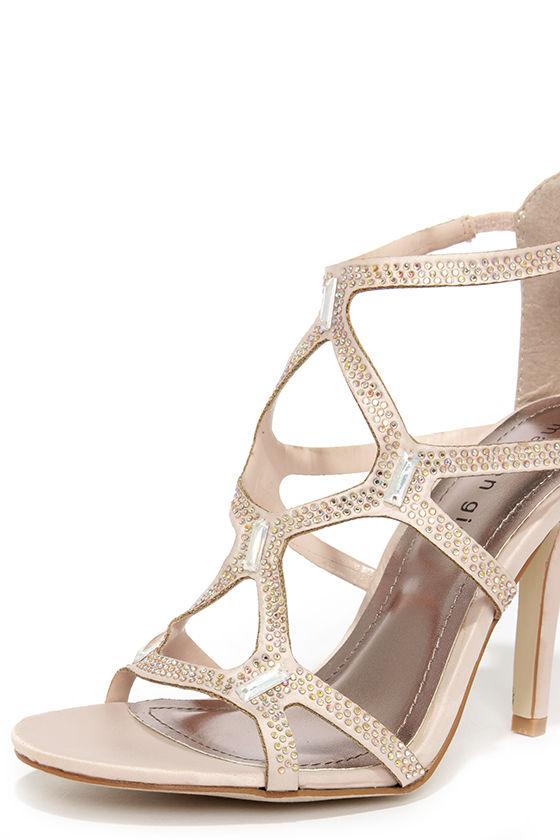 pretty blush heels rhinestone heels dress sandals 49 00