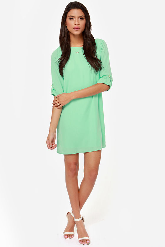 Pretty Mint Dress - Shift Dress - Buttoned Tab Sleeves - $43.00