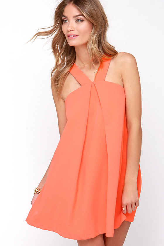 Chic Bright Coral Dress - Shift Dress - Halter Dress - Sleeveless ...