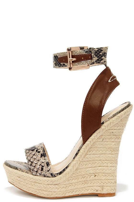3cfeb916027e Cute Snakeskin Wedges - Espadrille Wedges - Wedge Sandals -  41.00