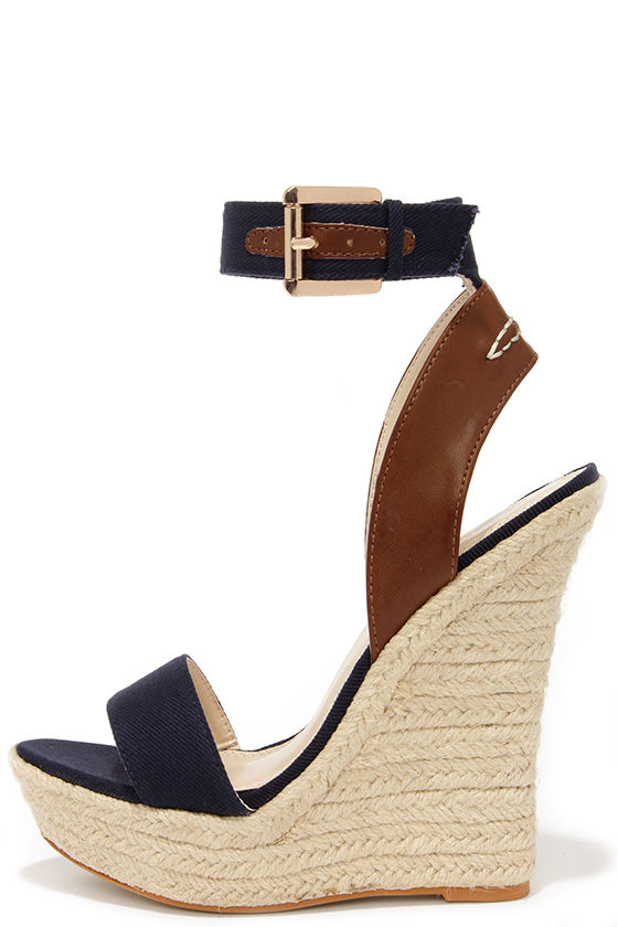 908dc58e8964f8 Cute Navy Blue Wedges - Espadrille Wedges - Wedge Sandals -  41.00