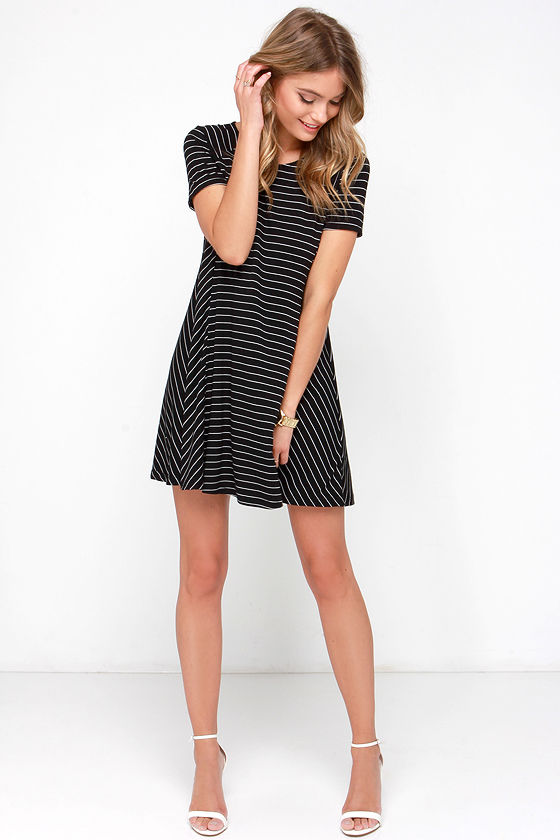 2d73b9f3e56 Black Striped Dress - Shirt Dress - Swing Dress -  39.00