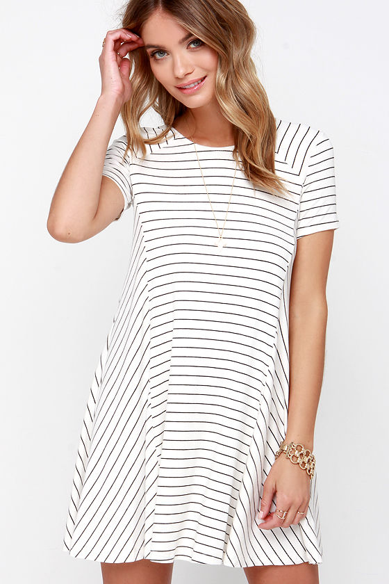 Ferry Ride Ivory Striped Swing Dress 1