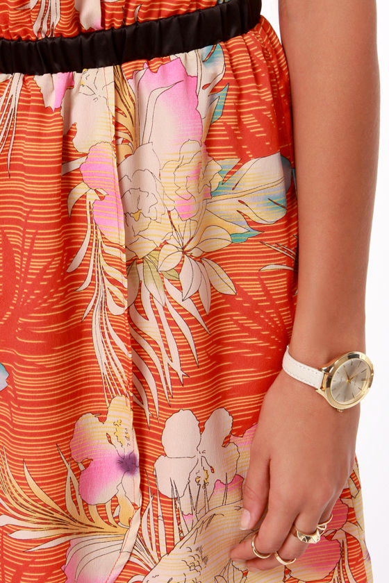 I. Madeline Hawaii Me? Red Orange Tropical Print Dress at Lulus.com!