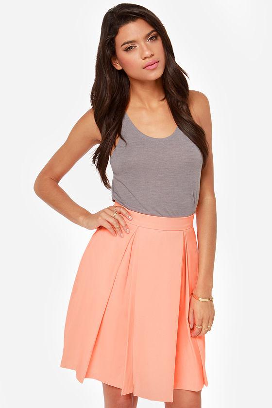 c252f94efd21 Pretty Bright Peach Skirt - Midi Skirt - High Waisted Skirt - $40.00