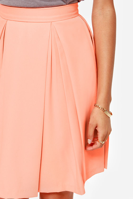 Pleat Your Match Bright Peach Skirt at Lulus.com!