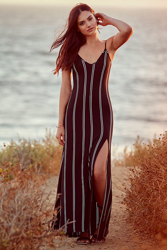 One for the Road Black Striped Maxi Dress 2