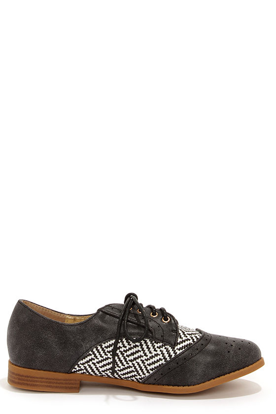 Yoki Aliya 02 Black Oxford Flats at Lulus.com!