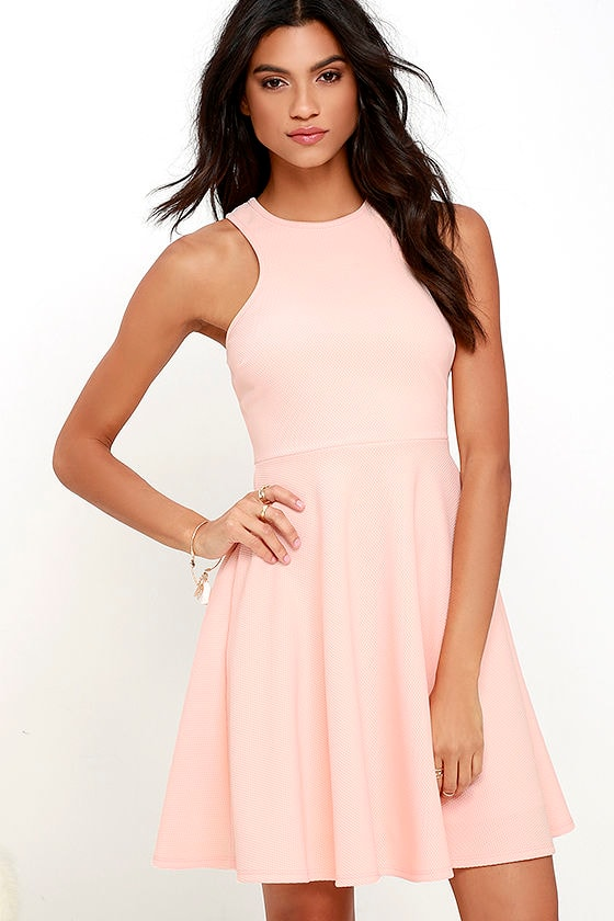 Lovely Peach Dress - Skater Dress - Racerback Dress - $44.00