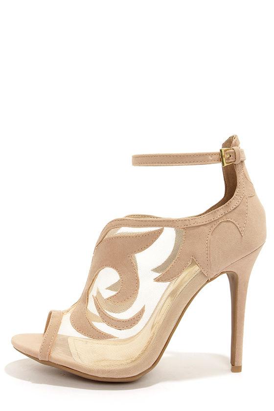 Yoki Adelpha Beige Mesh Ankle Strap Heels at Lulus.com!