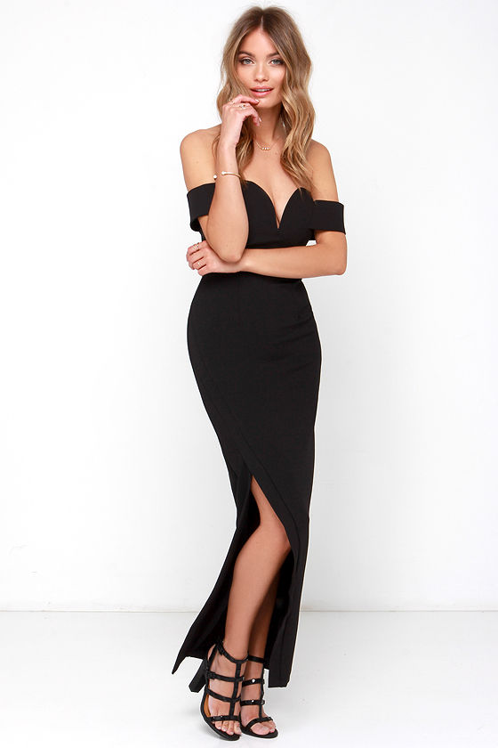 Black Maxi Dress - Off-the-Shoulder Dress - Strapless Dress - $97.00