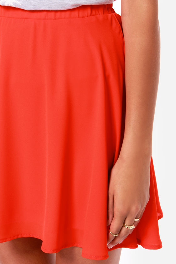 Goodnight Kiss Coral Red Skirt at Lulus.com!