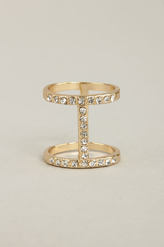 I Beaming Gold Rhinestone Ring at Lulus.com!