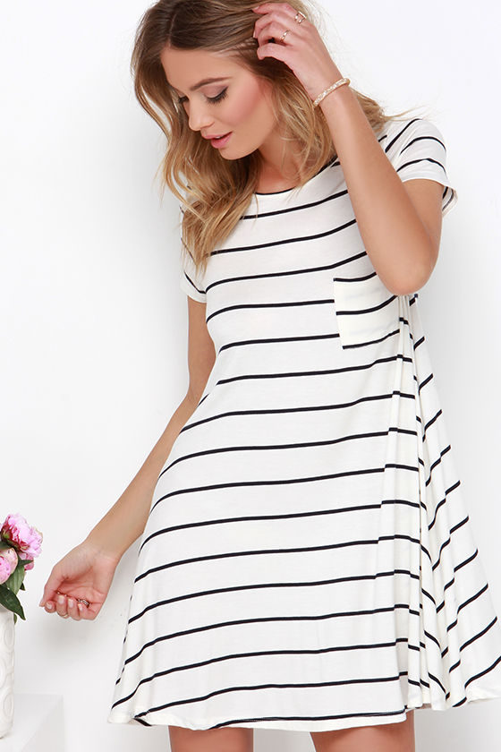 Cute Cream Dress - Striped Dress - Navy Blue Striped Dress - Swing Dress -   33.00 3152834ab