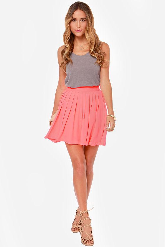 Cute Neon Coral Skirt - Pleated Skirt - High-Waisted Skirt - $40.00